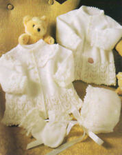 Knitted Matinee Jacket x 2,Bonnet, Mittens PATTERN.ONLY in 3 ply