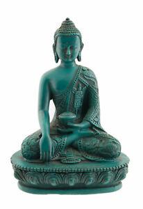 Statue tibétaine de Bouddha dhyani Akshobya en résine turquoise 13.5cm 8541