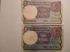 - INDIA PAPER MONEY- 2 OLD CIR. NOTES -RE.1/- RARE-TWO SIGNATORIES-1984,1986# E2