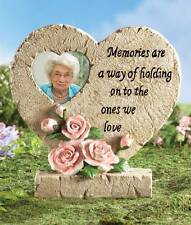 """Heart Shaped Roses Memorial Stone W Sentiment Phrase & Picture Photo Display 8""""H"""