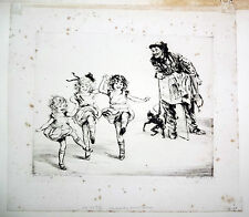 """20CT RUSSIAN ETCHING PRINT """"THE MONKEY MAN'S MUSIC"""" by DIANA THORNE (Daw"""