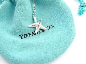 Tiffany & Co Silver Elsa Peretti Star Fish Starfish Diamond Pendant Necklace