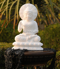 "10"" White Marble Blessing Buddha Statue Religious Carved Pooja Decor Gifts H2245"