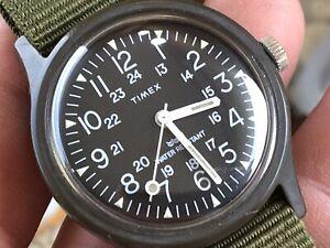Vintage 1983 Timex Camper Military 24 H mechanic Men's Watch Serviced New Strap