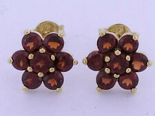 s E059 Classic 9K Yellow Gold NATURAL Garnet Large Blossom Cluster Stud Earrings