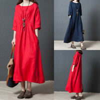 Retro Vintage Summer Women Cotton Linen Loose A Line Solid Tunic Maxi Long Dress