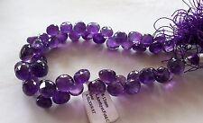 "8"" Strand Grape Amethyst Gemstone Faceted Onion Round Drop Briolette Beads"