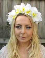 Groß Elfenbeinweiß Orchidee Blumen Muster Kopfband Haar-krone Girlande