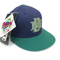 Vintage Milwaukee Brewers New Era 5950 Wool Fitted Hat Green Brim Blue Top Logo