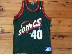 Vintage Champion Seattle SuperSonics Kemp #40 NBA Jersey Sz- 44