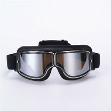 Vintage motorcycle helmet goggles, motorcycle goggles, black frame silver plated