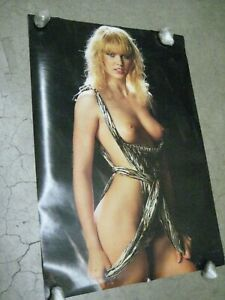 Justine hot chick bed Poster 1980's car garage man cave Thick stock C243