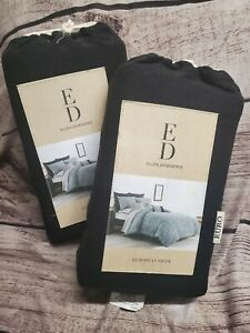 Lot of 2 Pillow Shams ED Ellen Degeneres Boceto EBY Ebony Euro Sham Black NWT
