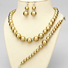 Gold and Rhinestone Accented Pearl 3 Piece Necklace Set