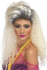 LADIES 80s LONG BOTTLE BLOND WIG ADULT 80s CRIMPED MADONNA HAIR STYLE AND QUIFF