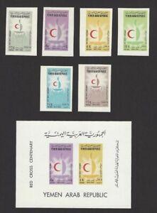 Yemen 1963 Red Cross IMPERF 6v & S/S MNH