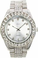 Men Iced Watch Silver Bling Rapper Lab Simulate Diamond Crystal Stone Luxury NEW