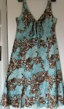 Per Una M&S Size 14R Turquoise Brown white Floral holiday cotton dress