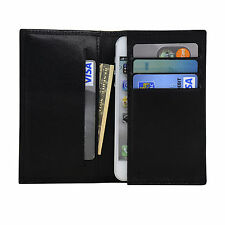 iPhone 5 Folio Wallet Case Genuine Soft Sheep Leather in Black