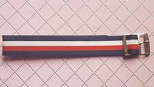 BRACELET MONTRE TERGAL PERLON STYLE NATO RAYURE 18mm BOUCLE ARGENTÉ ref.RS02