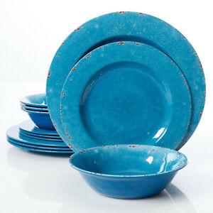 Gibson Studio Mauna Crackle-Look Cobalt Melamine 12 pc DW Set, Dishwasher Safe