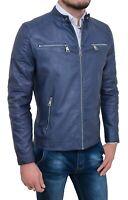 Giubbotto uomo ecopelle casual blu estivo giubbino giacca con zip S M L XL XXL