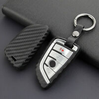 Carbon Fiber Car Key Fob Case Cover Chain Ring Keychain Accessories For BMW