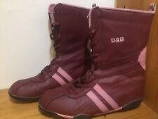 Womens  Purple Leather Boots D&B Size 5 EU 38