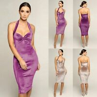 Women Sexy V-Neck Halter Backless BodyconParty Cocktail Mini Dress Clubwear New