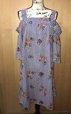 J Gee Short Off the Shoulder Stripe Floral White Blue Dress Flare Sleeve Sz 2X
