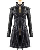 Punk Rave Womens Steampunk Jacket Coat Black Goth Military Punk Faux Leather