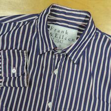 Frank & Eileen Blue w White & Red Striped Italian Cotton Paul Shirt S EUC USA