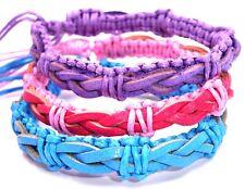 Lot de 3 Bracelets Brésilien Amitié Bonheur Cuir Friendship Amour rose bleu