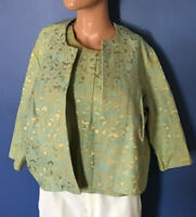 2pc Timeless 1960s Vintage Silk Brocade Top And Jacket Womens Size S/M