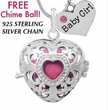 Baby Girl Heart Angel Caller Harmony Chime Ball Necklace 925 Sterling Chain New