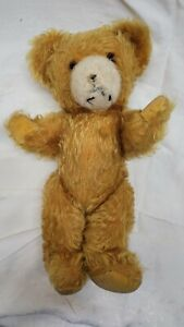 STEIFF TEDDY BEAR Antique13 inch Gold Mohair W White Muzzle Nice Condition