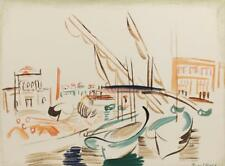 Vintage Fauvist Modernism French Raoul Dufy Mid Century Boats Lithograph #710