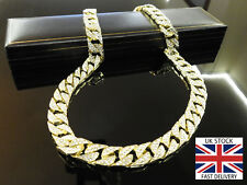Mens 18k Gold Solid GF Rhinestone inset 'Iced Out' Chain Necklace Cuban with BOX