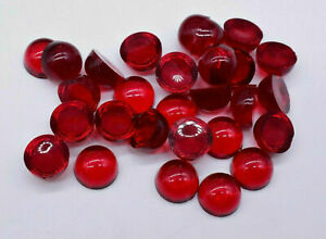 20 Vintage Red Transparent Small Dome Top Cabochon 8 mm