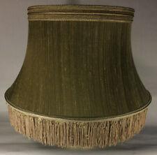 Antique Gold Softback Floor Lamp Shade w/ Fringe, Shallow Drum, 100% Silk SS840G