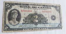 1935 Bank of Canada $2 Two Dollar Banknote | Osborne/Towers