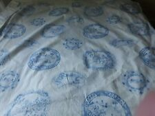 A Pair of Vintage Handmade Curtains Drapes Harlequin Willow Pattern Fabric