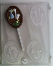 STORK WITH BABY LOLLIPOP CLEAR PLASTIC CHOCOLATE CANDY MOLD B039