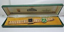 NOS Antique Vintage 1950's GARON Womens Wrist Watch Brown Dial 17j VEGAS Box 105