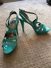 Guess Strappy Turquoise Heels With Buckle Closures Women's Size 10 Shoes