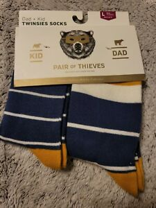 Pair of Thieves Men's Blocked Stripes Dad & Kid Casual Crew Socks, Size Large