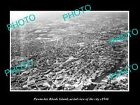 OLD LARGE HISTORIC PHOTO OF PAWTUCKET RHODE ISLAND AERIAL VIEW OF THE CITY c1940