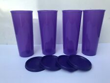 Tupperware Tumblers Straight Set of 4 Purple color w/ lids 16oz Free Shipping