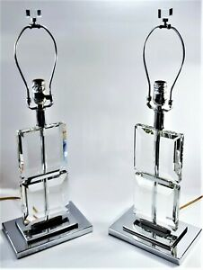 Set of 2 Ice palace Crystal Cube lamps.