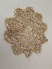Crochet Beige Handmade Vintage Doily Doilie 13 1/2 Inch Crocheted